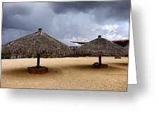Empty Beach Due To Incoming Storm  Greeting Card