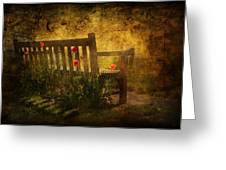 Empty Bench And Poppies Greeting Card