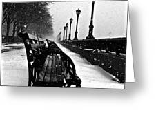 Empty Benches In The Snow Greeting Card