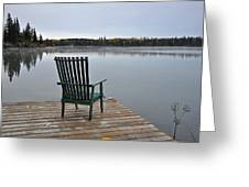 Empty Chair On Autumn Morning Greeting Card