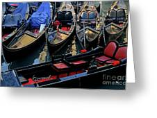 Empty Gondolas Floating On Narrow Canal In Venice Greeting Card