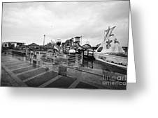 Empty Outdoor Amusement Park On A Cold Wet British Summer Day North Wales Uk Greeting Card