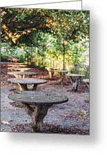 Empty Picnic Tables In The Early Fall With Fallen Leaves Greeting Card