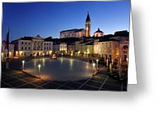 Empty Tartini Square In Piran Slovenia With Courthouse, City Hal Greeting Card