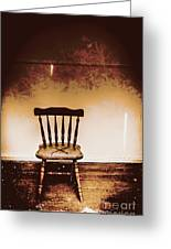 Empty Wooden Chair With Cross Sign Greeting Card