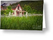 Enchanted Cottage With Picket Fence Greeting Card