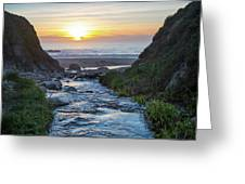 End Of The Road - Creek Runs Into Pacific Ocean At Big Sur Greeting Card