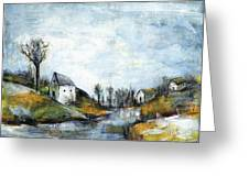 End Of Winter - Acrylic Landscape Painting On Cotton Canvas Greeting Card