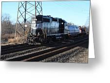 Engine 5664 Passing Bye Greeting Card