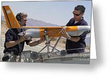 Engineers Mount A Scaneagle Unmanned Greeting Card