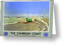 England Cambrian Coast Vintage Travel Poster Greeting Card