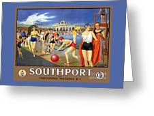 England Southport Restored Vintage Travel Poster Greeting Card