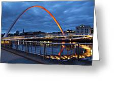 England, Tyne And Wear, Gateshead Millennium Bridge. Greeting Card