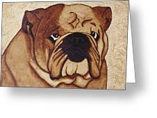 English Bulldog Coffee Painting Greeting Card