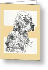 English Setter And Pup Greeting Card