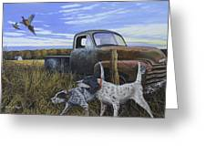 English Setters With Old Truck Greeting Card