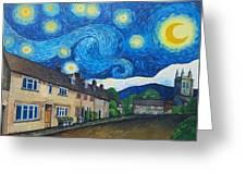 English Village In Van Gogh Style Greeting Card