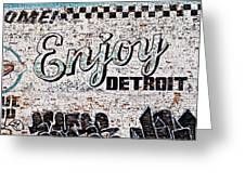 Enjoy Detroit Graffiti Greeting Card