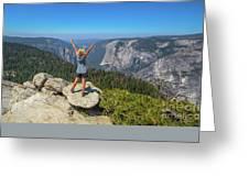 Enjoying At Yosemite Summit Greeting Card