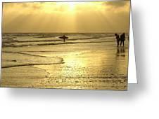 Enjoying The Beach At Sunset Greeting Card