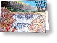 Enjoying Waterfall Greeting Card