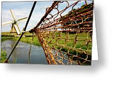 Enkhuizen Windmill And Nets Greeting Card