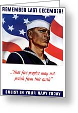 Enlist In Your Navy Today - Ww2 Greeting Card