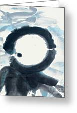 Quietude - Enso Moon Rising Above The Mountain Greeting Card