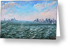 Entering In New York Harbor Greeting Card