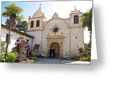 Entering The Church Sanctuary At Carmel Mission-california  Greeting Card