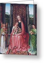 Enthroned Virgin And Child, With Angels Greeting Card