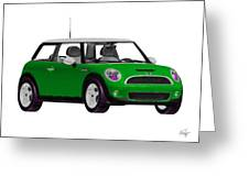 Envy Green Mini Cooper Greeting Card