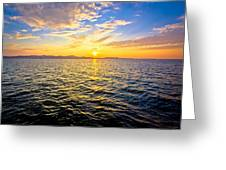 Epic Colorful Sunset On Sea Greeting Card