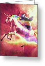 Epic Space Sloth Riding On Unicorn Greeting Card
