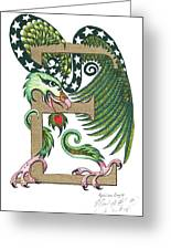 Epsilon Eagle In Green And Gold Greeting Card
