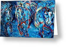 Equine Abstract Blue Four By M Baldwin Greeting Card