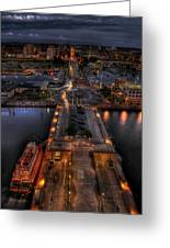 Erie Night Lights Greeting Card by Brian Fisher