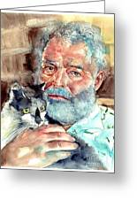 Ernest Hemingway Watercolor Greeting Card
