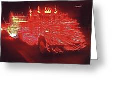 Ernst Haas Homage Fire Truck Electric Lights Xmas Parade Casa Grande Az 2001 Greeting Card