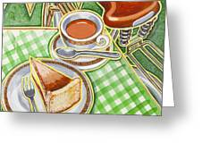 Eroica Britannia Bakewell Pudding And Cup Of Tea On Green Greeting Card