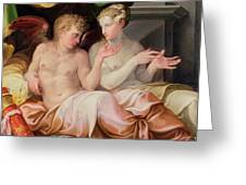 Eros And Psyche Greeting Card by Niccolo dell Abate