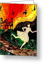 Escape From The Burning House Greeting Card