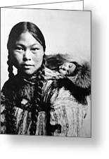 Eskimo Woman And Child Greeting Card