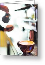 Espresso Expresso Italian Coffee Cup With Machine  Greeting Card