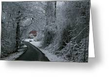 Esso Barn In Winter Greeting Card by Renee Summers