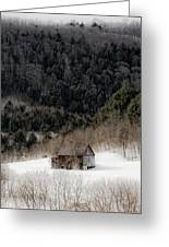 Ethereal Barn In Winter Greeting Card