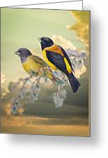 Ethereal Birds On Snowy Branch Greeting Card