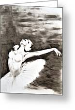 Ethereal Black And White Ballerina Poster 4  - By Diana Van Greeting Card