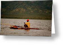 Ethiopia  Baiting A Longline On Lake Chamo Greeting Card
