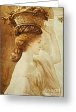 Eucharis  A Girl With A Basket Of Fruit Greeting Card